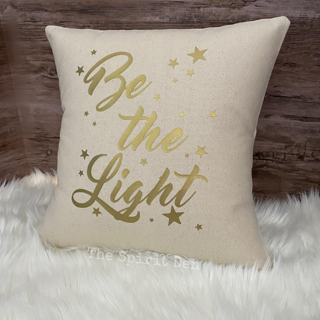 Be the Light Cotton Canvas Natural Pillow