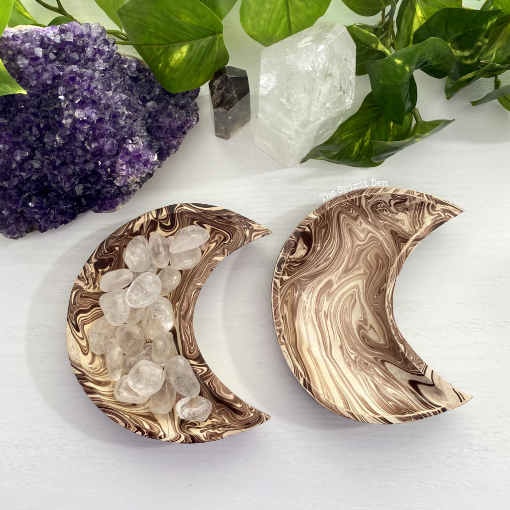 Wood Moon Bowl | Light Brown Marbled Finish - The Spirit Den