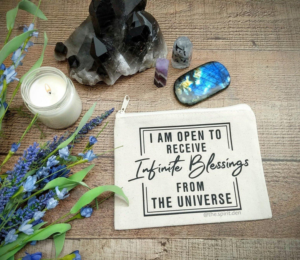 I Am Open To Receive Infinite Blessings From The Universe Canvas Zipper Bag - The Spirit Den