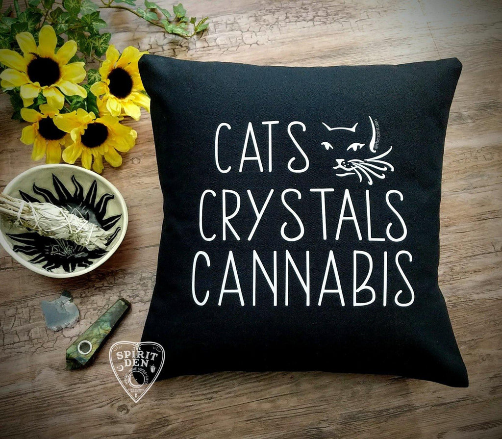 Cats Crystals Cannabis Black Pillow - The Spirit Den