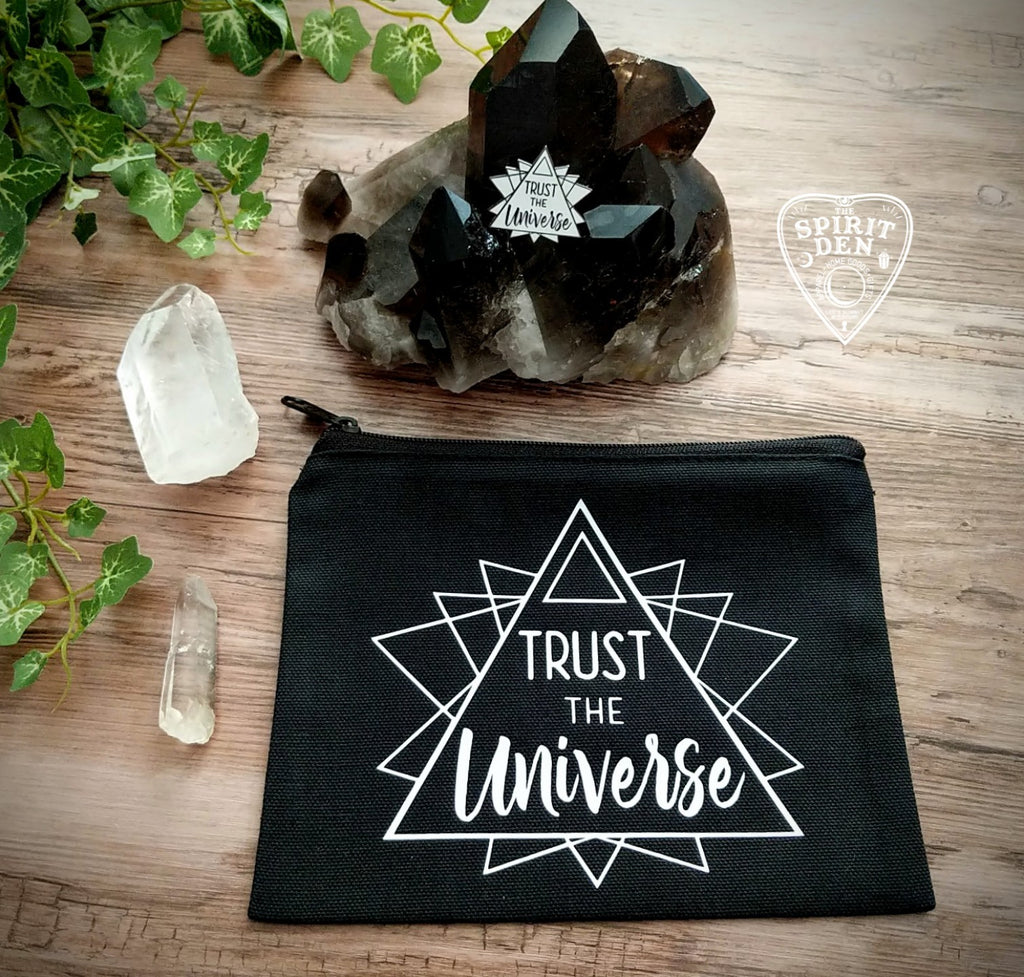 Trust The Universe Black Canvas Zipper Bag
