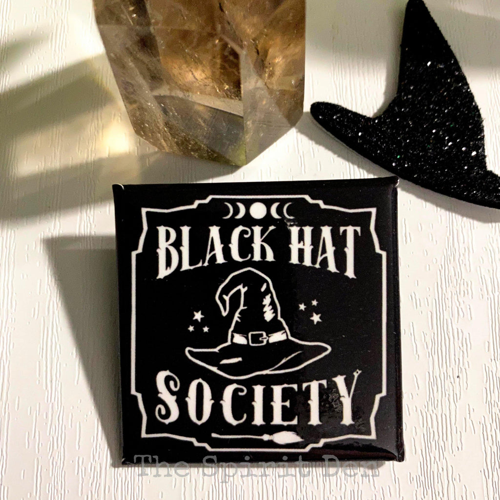 Black Hat Society Witch Hat Black Square Pinback Button
