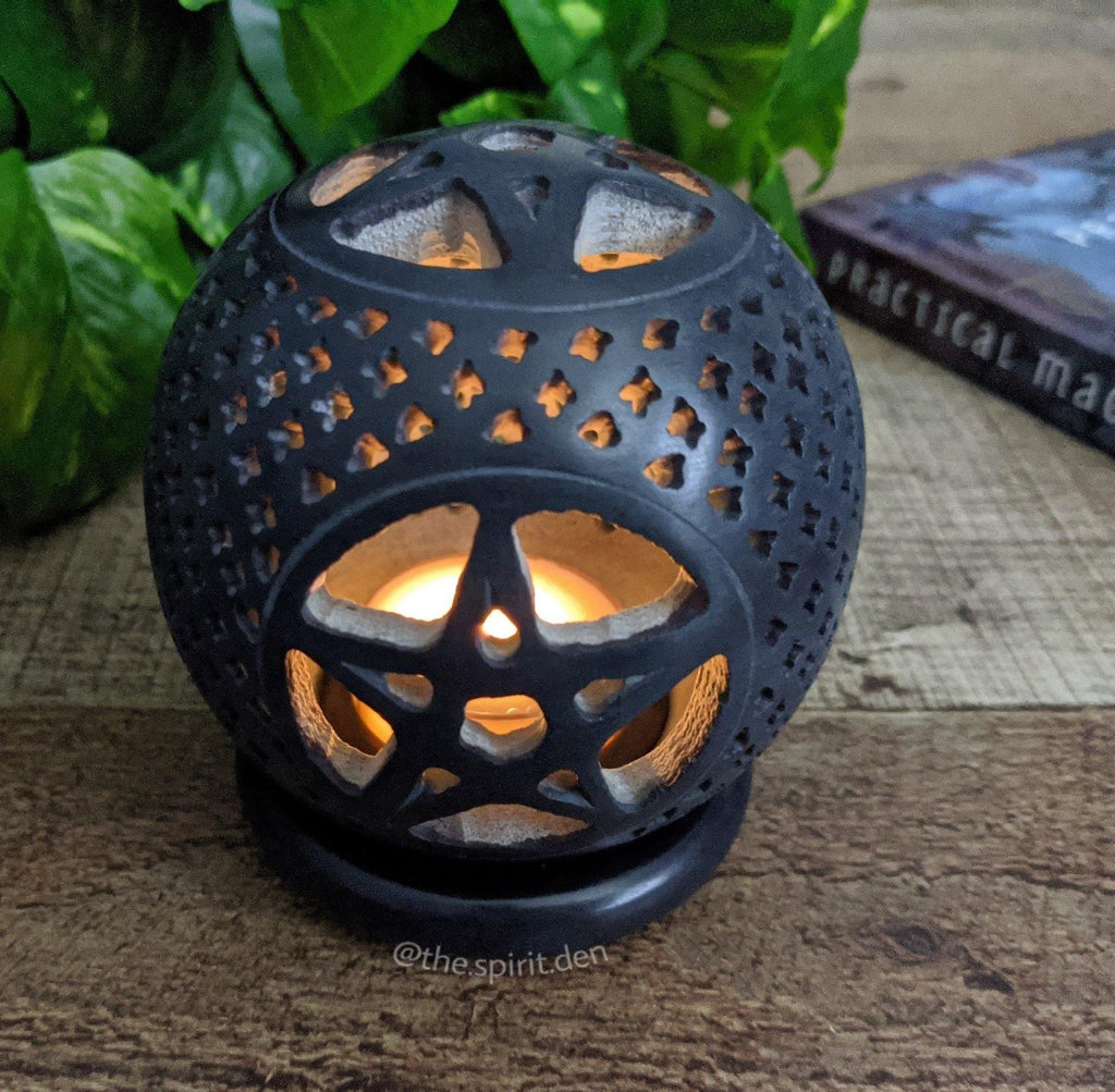 Black Pentacle Soapstone Sphere Candle Holder or Incense Burner