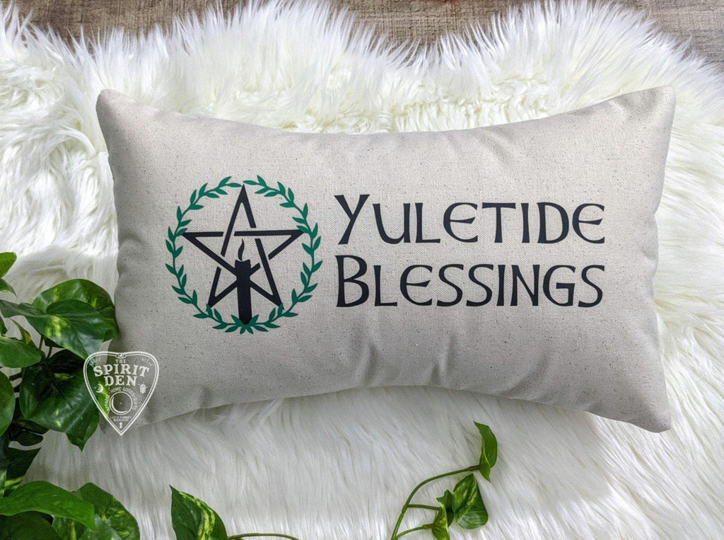 Yuletide Blessings Pentacle Cotton Canvas Lumbar Pillow - The Spirit Den
