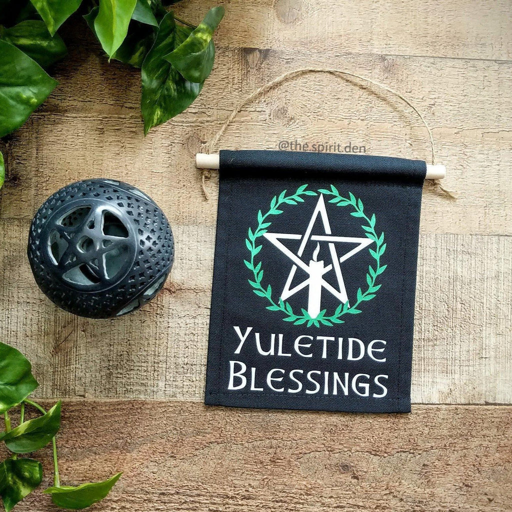 Yuletide Blessings Pentacle Black Canvas Banner