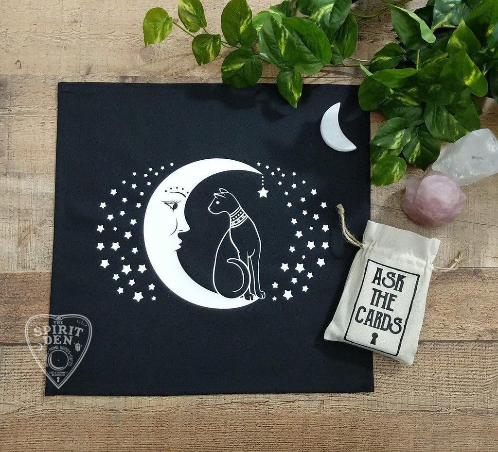 Cat and the Moon Altar Tarot Cloth - The Spirit Den