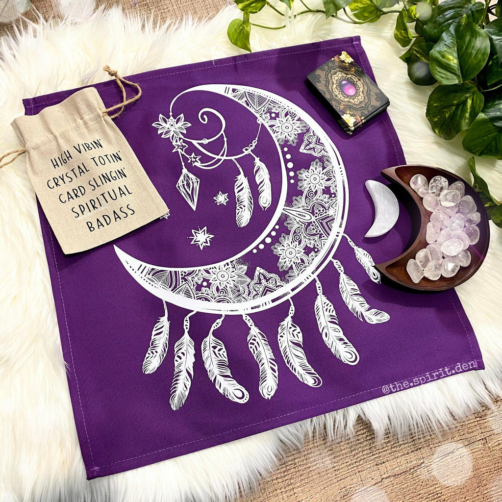 Crescent Moon Catcher Purple Altar/ Tarot Cloth
