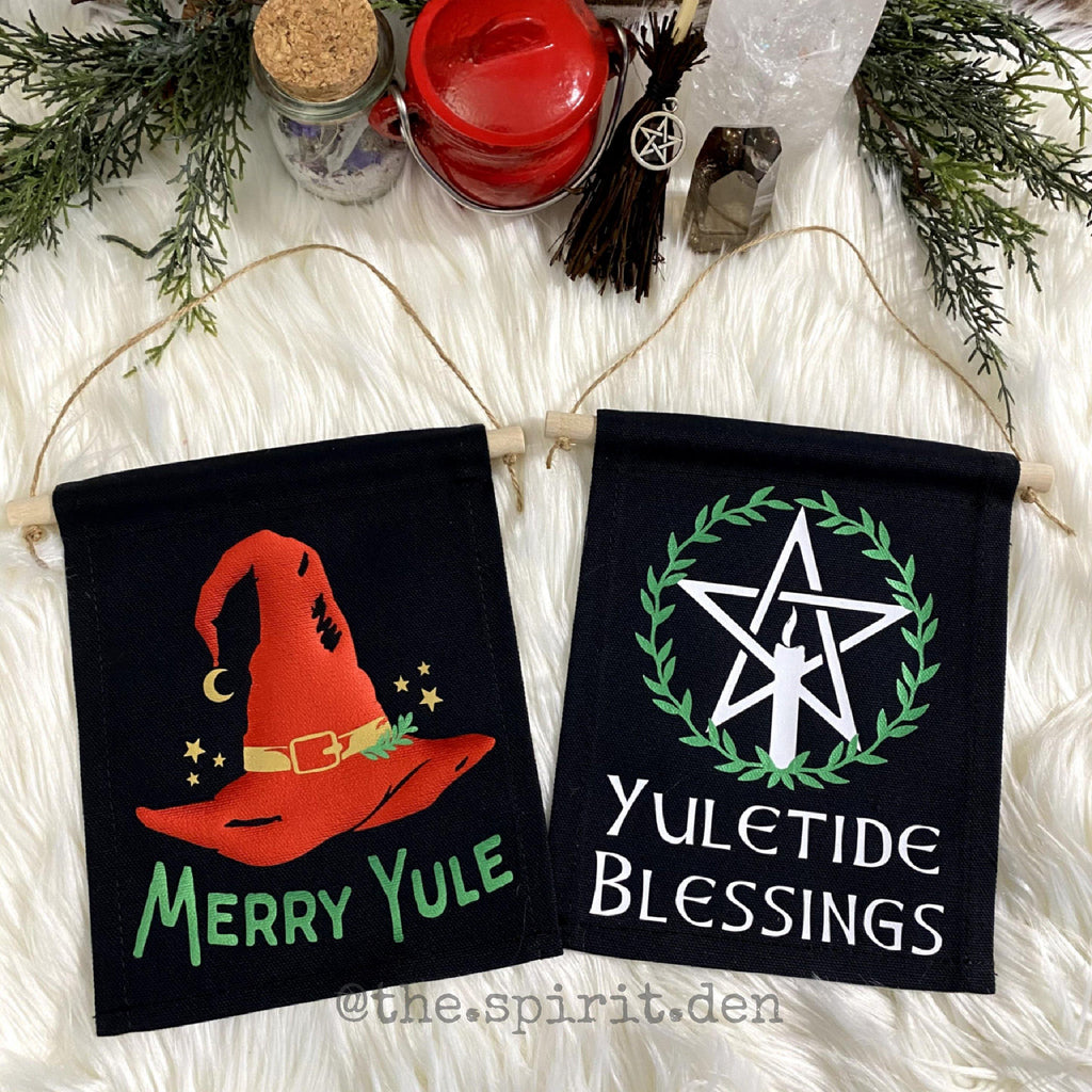 Merry Yule Black Canvas Banner