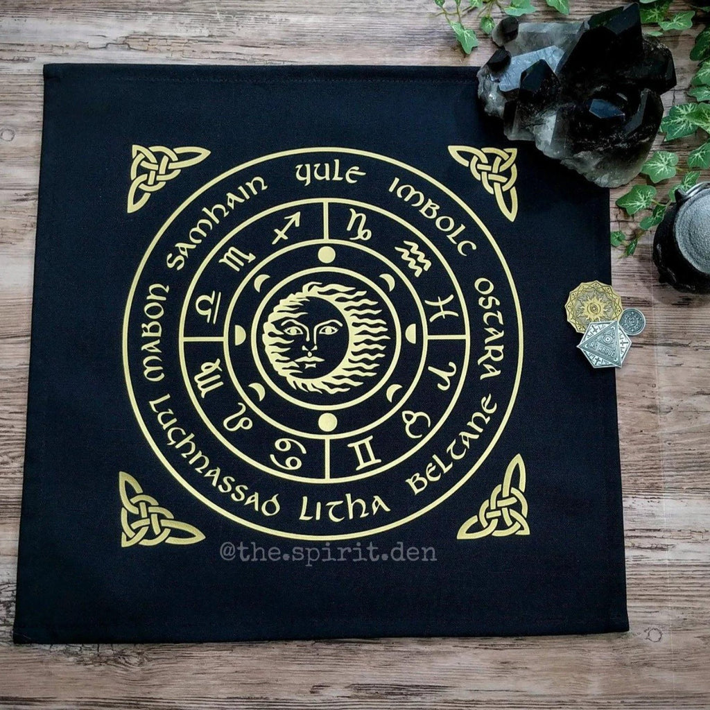 Wheel of the Year (Gold) Altar Cloth - The Spirit Den
