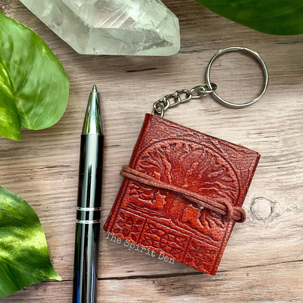 Tree of Life Leather Journal Keychain