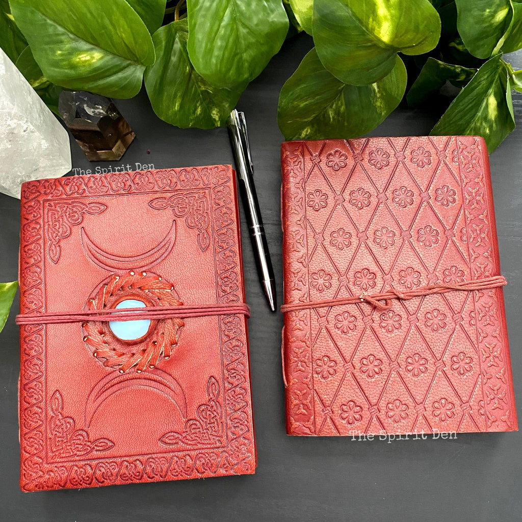 Triple Moon Opalite Inlay Leather Journal
