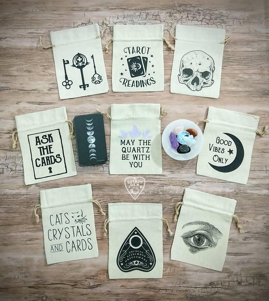 Ask The Cards Keyhole Tarot Drawstring Cotton Linen Bag