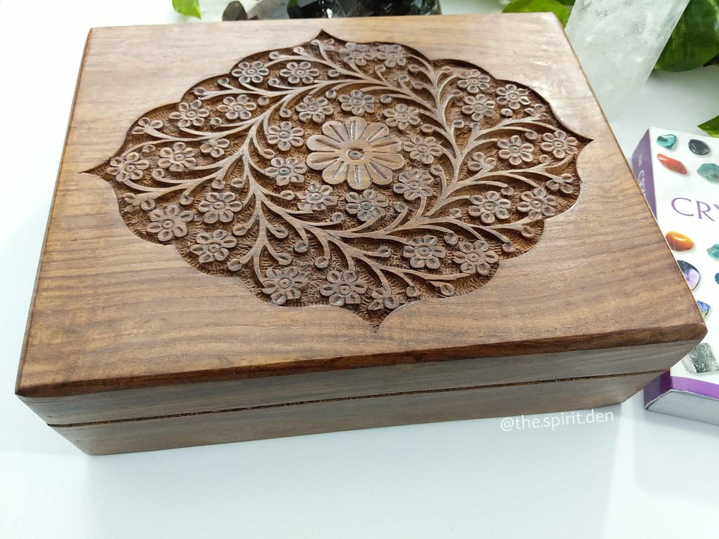 Floral Third Eye Hand Carved Wood Chest Style Box