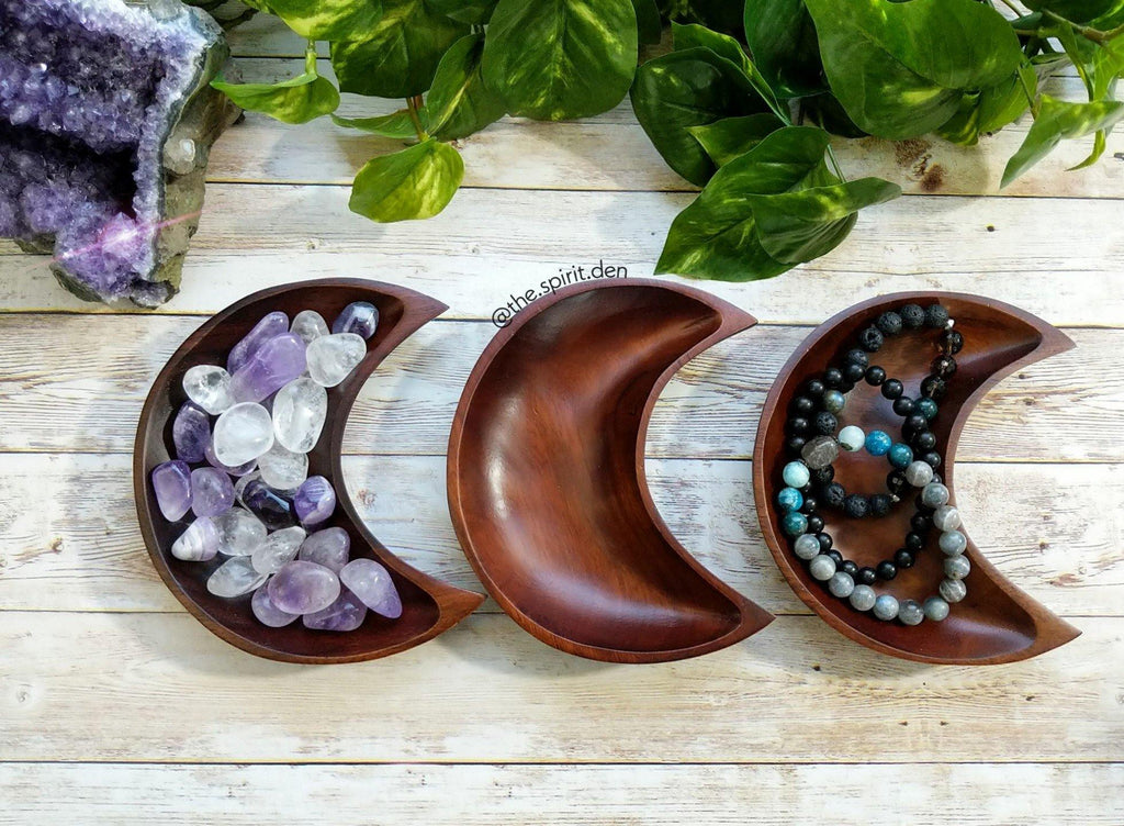Wood Moon Bowl | Solid Brown Finish - The Spirit Den
