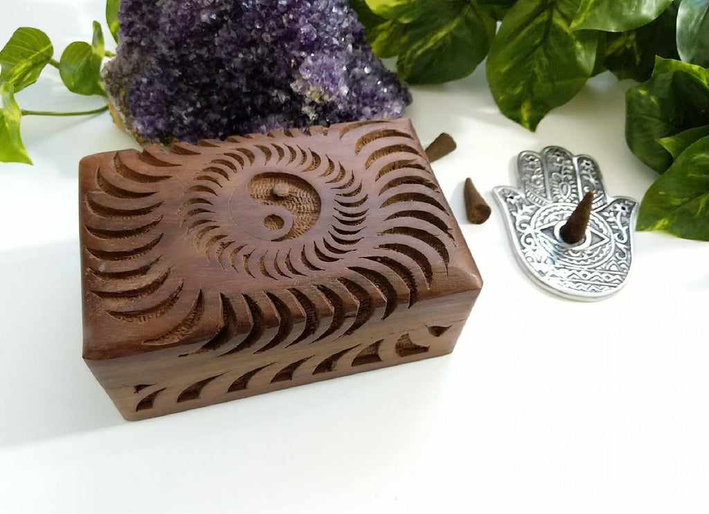 Yin Yang Hand Carved Wooden Box
