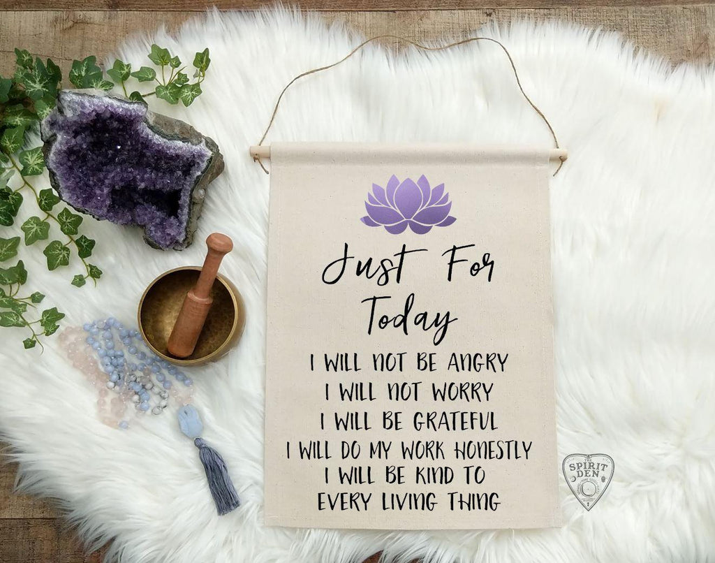 Reiki Principles Just for Today Purple Lotus Cotton Canvas Wall Banner