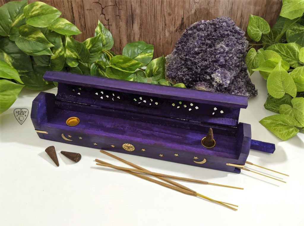 Purple Celestial Sun & Moon Wood Incense Box Burner & Storage for Incense Cones and Sticks