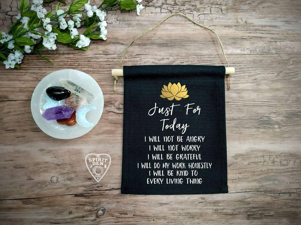 Reiki Principles Just for Today Black Canvas Wall Banner