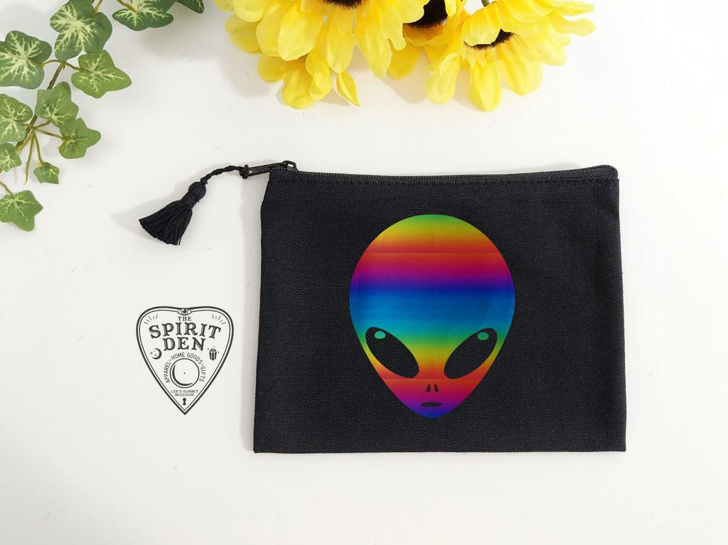 Rainbow Alien Head Black Canvas Zipper Bag