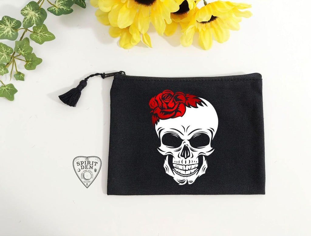 Red Rose Skull Black Zipper Bag