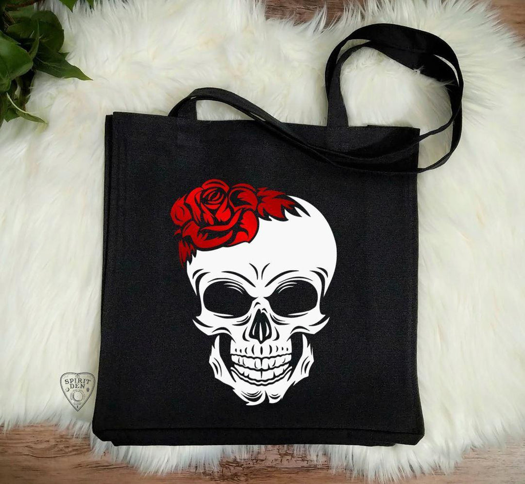 Red Rose Skull Black Canvas Tote Bag
