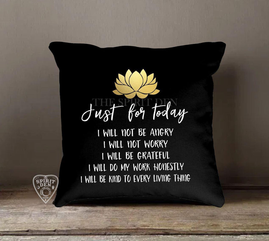 Reiki Principles - Just For Today Black Pillow