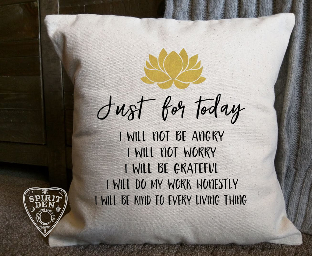 Reiki Principles Just for Today Cotton Canvas Pillow