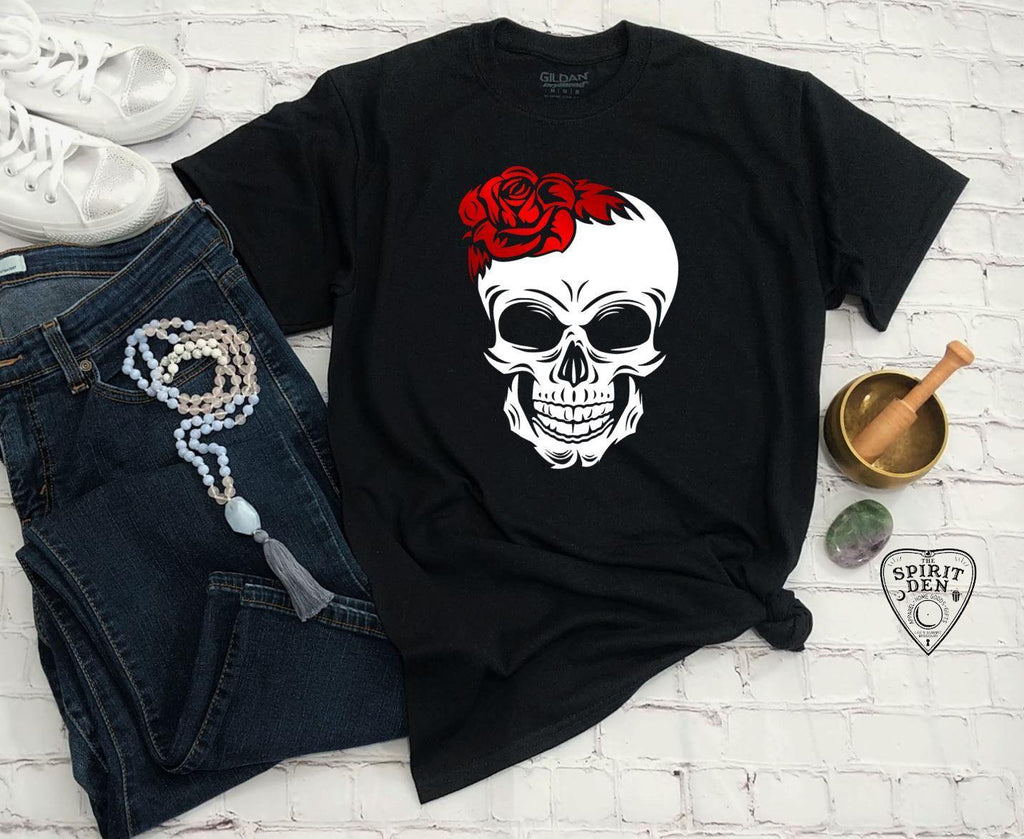 Red Rose Skull T-Shirt