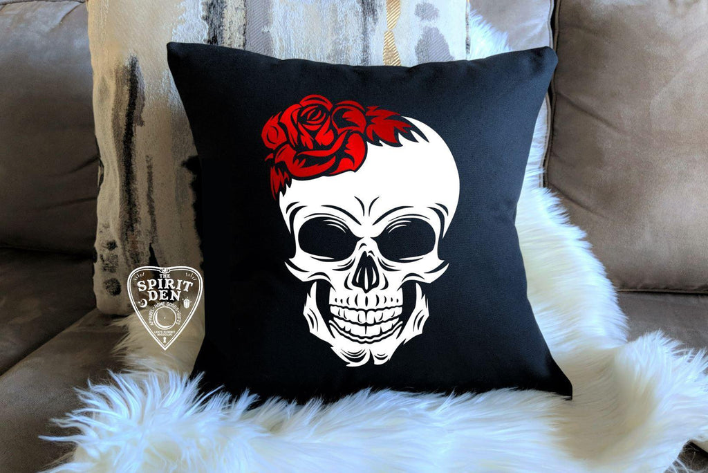 Red Rose Skull Black Pillow