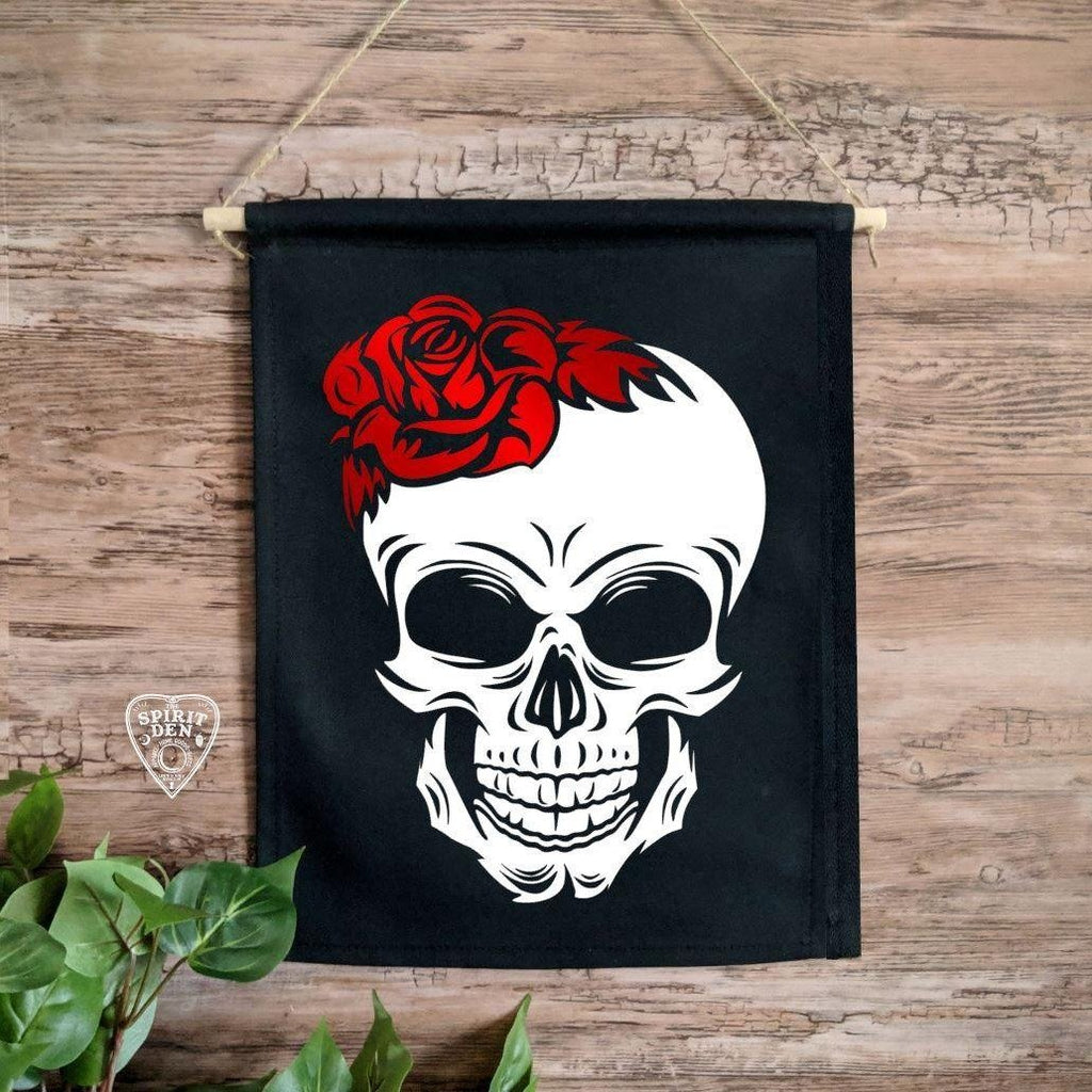 Red Rose Skull Black Canvas Wall Banner