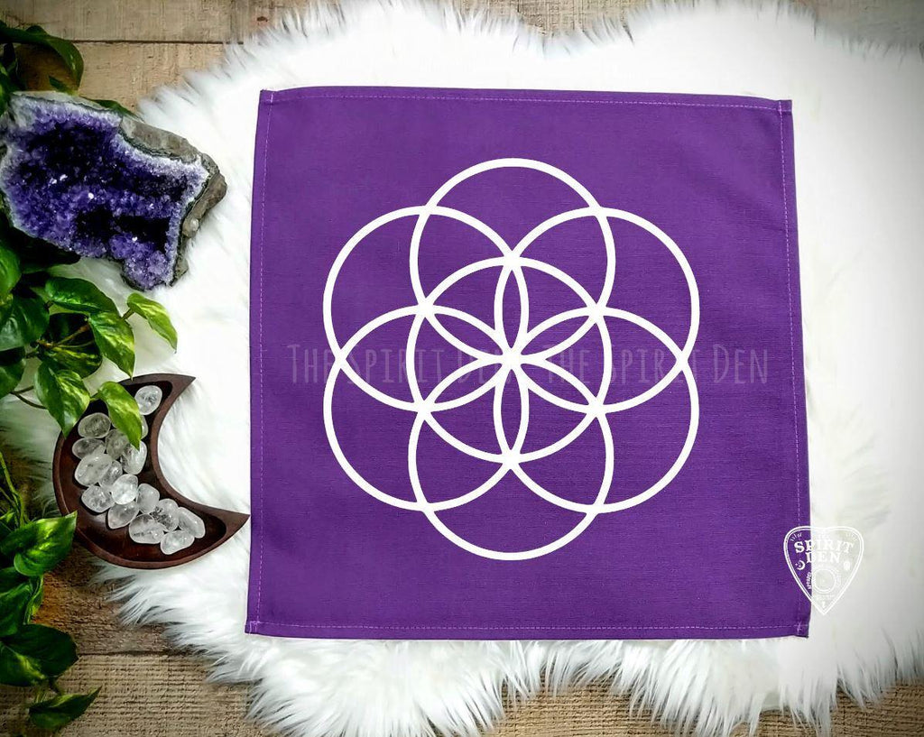 Seed of Life Crystal Grid Purple Cloth - The Spirit Den
