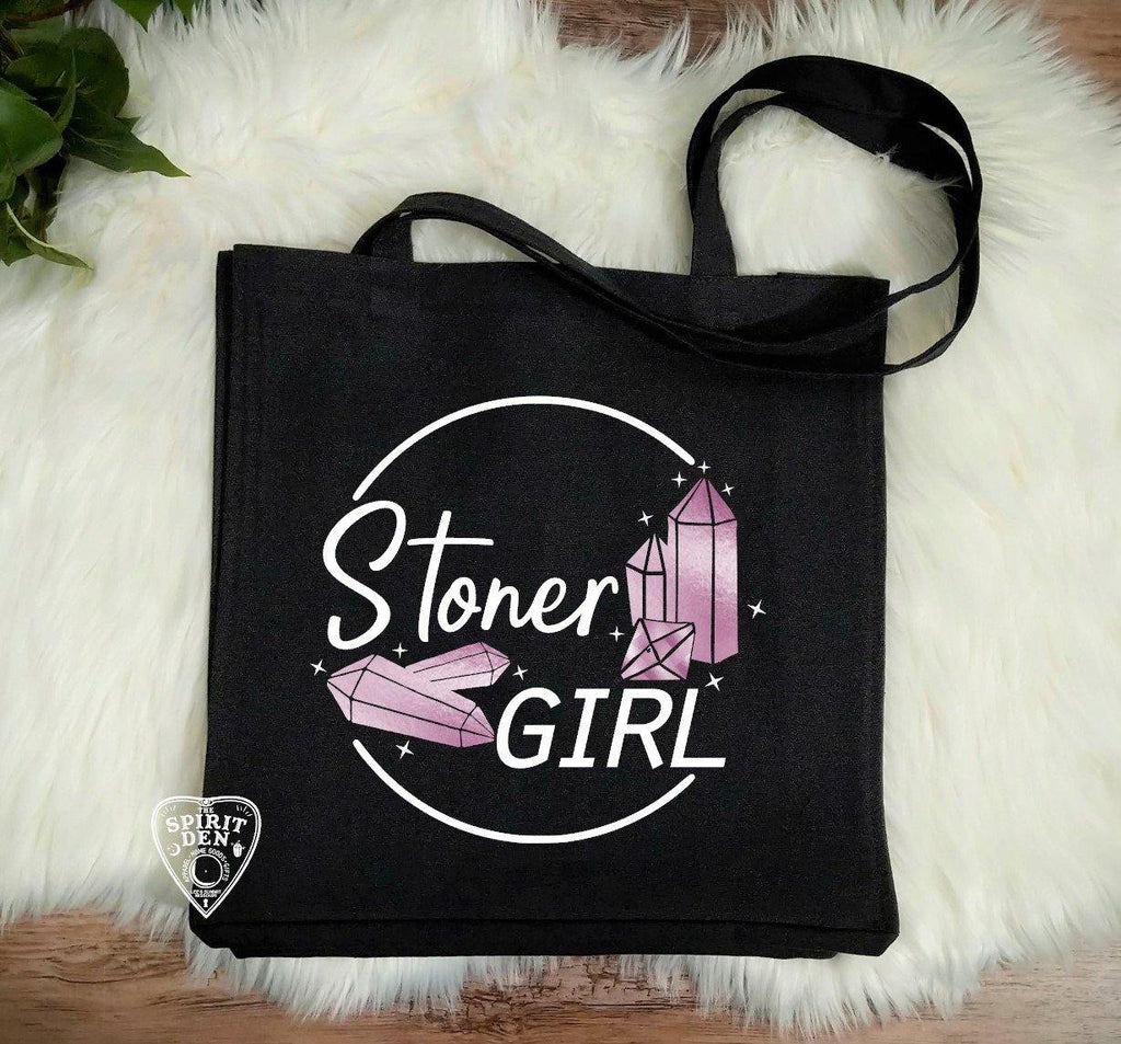 Stoner Girl Crystals Black Canvas Market Tote Bag
