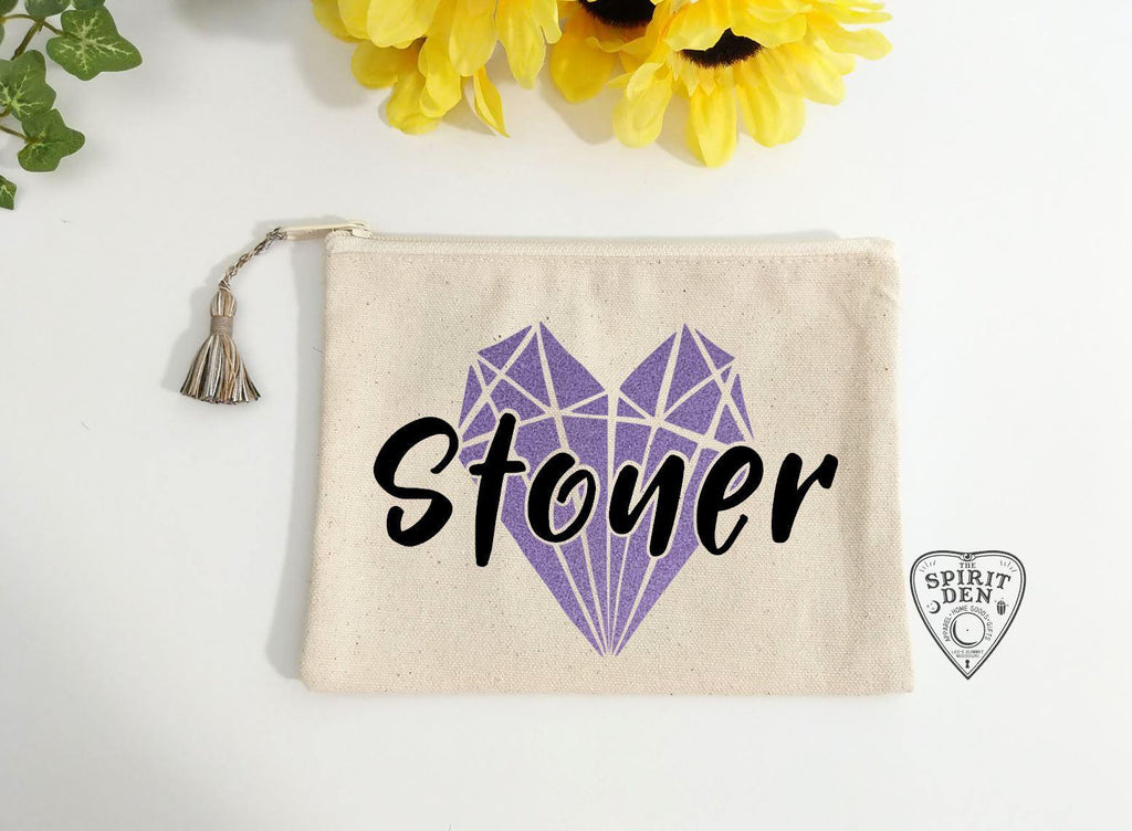 Stoner Heart Crystal Canvas Zipper Bag