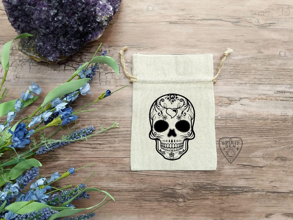 Sugar Skull Tarot Deck Bag | Crystal Pouch | Drawstring Cotton Linen Bag