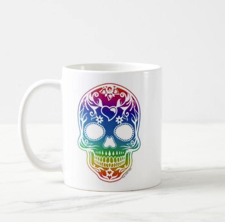 Rainbow Sugar Skull White Mug
