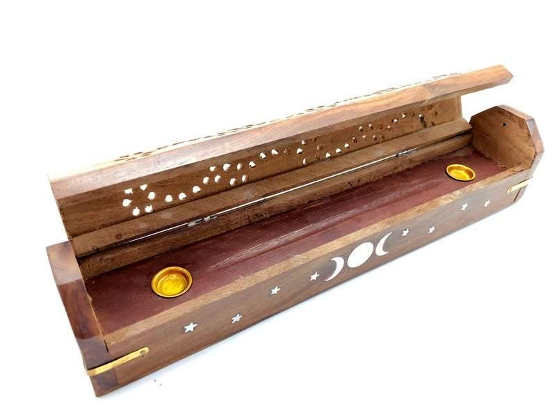Triple Moon Wood Incense Box Burner & Storage for Incense Cones and Sticks