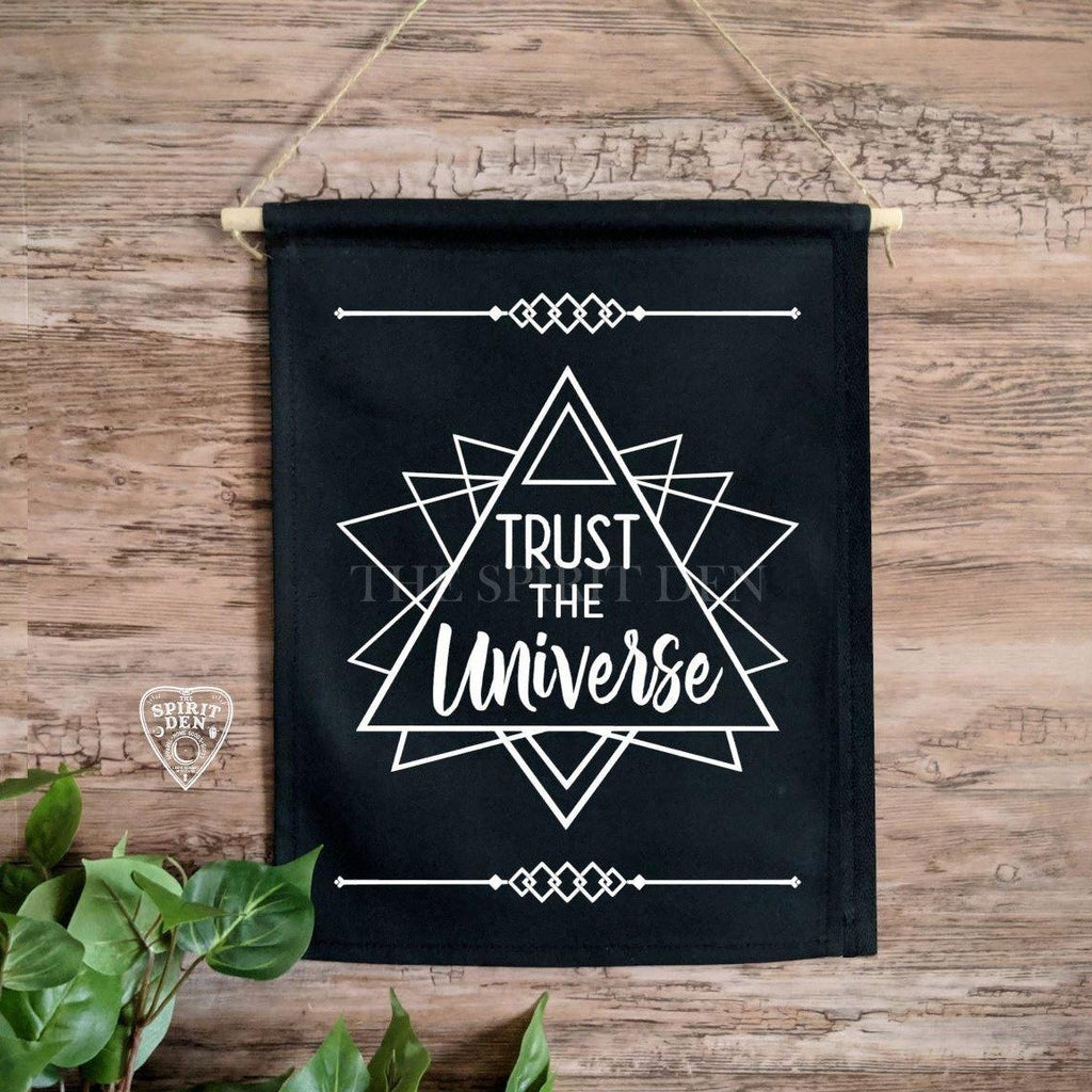 Trust The Universe Sacred Geometry Black Canvas Wall Banner