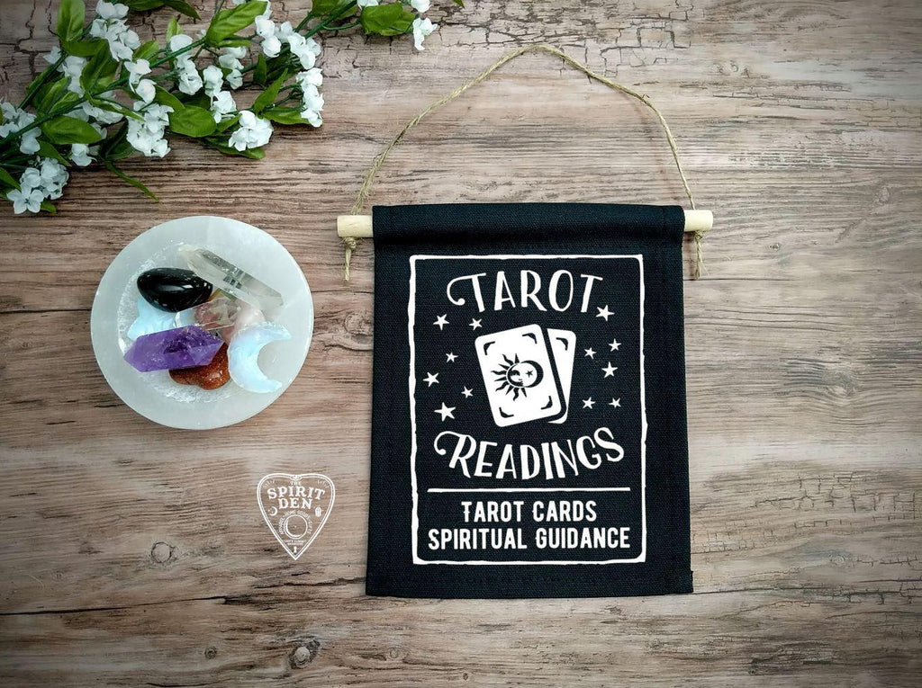 Tarot Readings Tarot Cards Spiritual Guidance Black Canvas Wall Banner