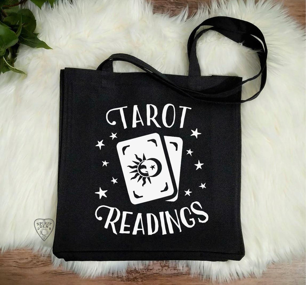 Tarot Readings Black Cotton Canvas Market Tote Bag - The Spirit Den