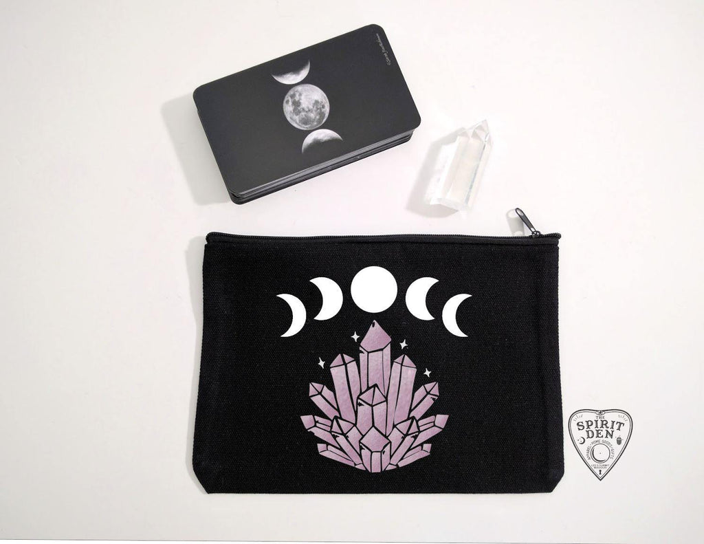 Mystical Moon Gem Black Canvas Zipper Bag