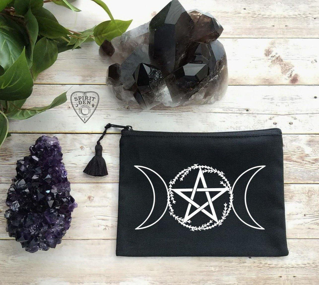 Triple Moon Pentacle Wreath Black Canvas Zipper Bag