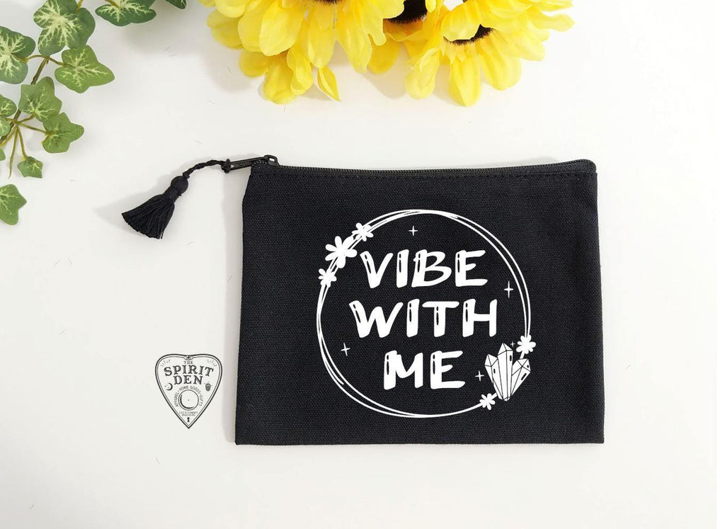 Vibe With Me Black Canvas Zipper Bag