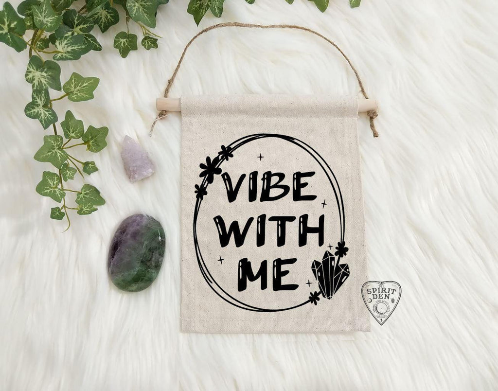 Vibe With Me Cotton Canvas Wall Banner