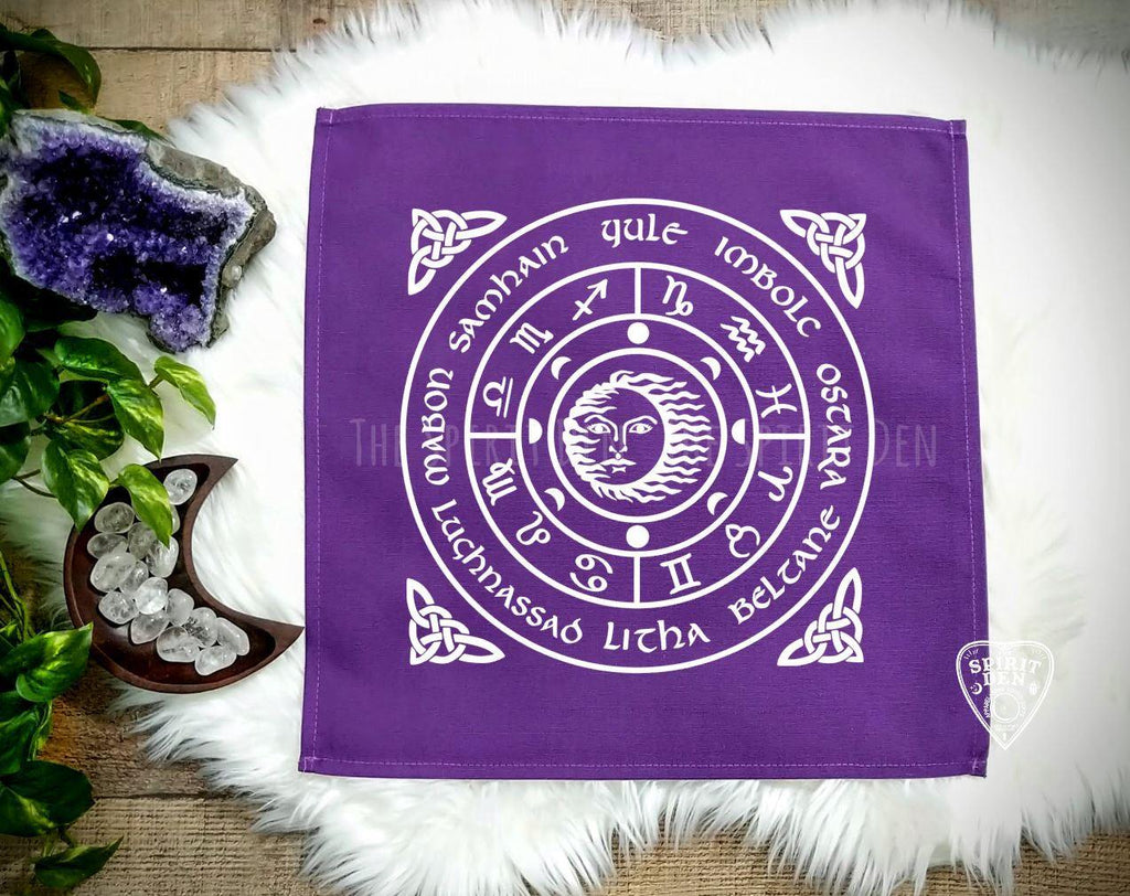 Wheel of the Year Purple Altar/Tarot Cloth - The Spirit Den