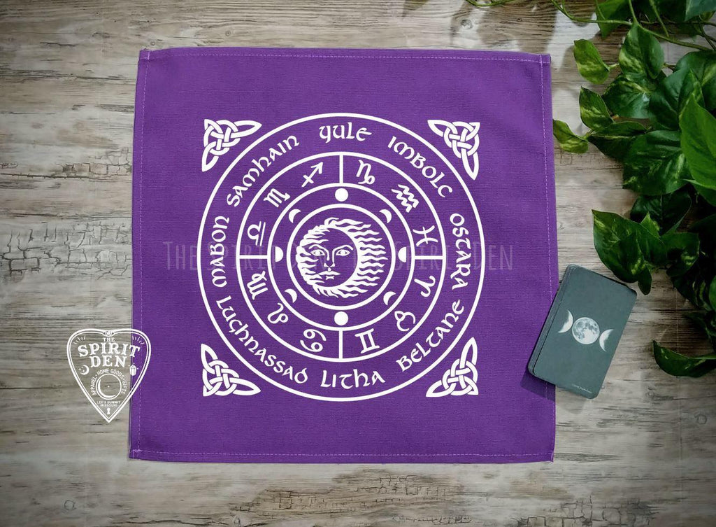Wheel of the Year Purple Altar/Tarot Cloth