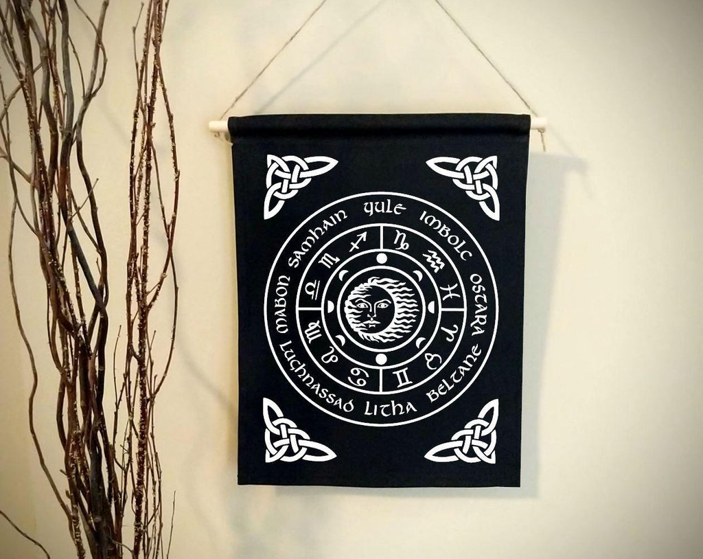 Wheel of the Year Black Canvas Wall Banner - The Spirit Den