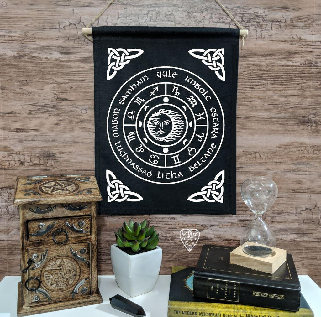 Wheel of the Year Black Canvas Wall Banner