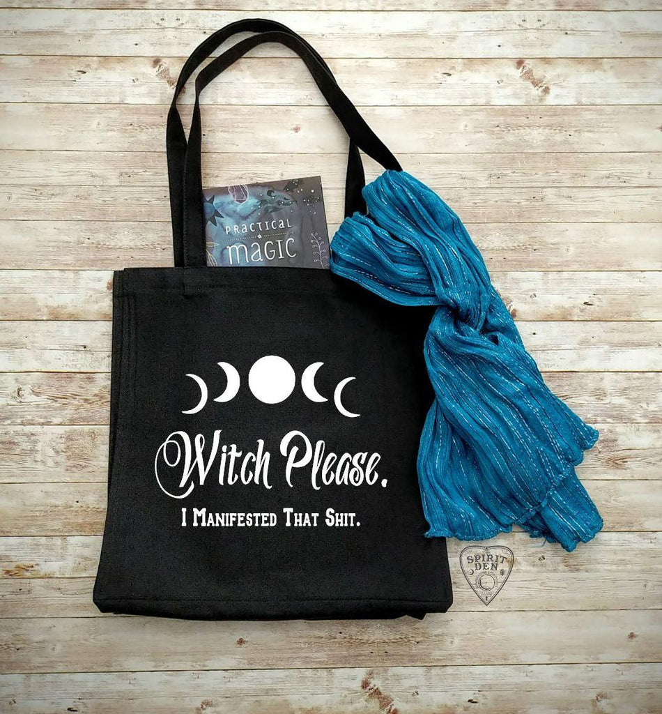 Witch Please I Manifested That Shit Black Cotton Canvas Market Tote Bag - The Spirit Den