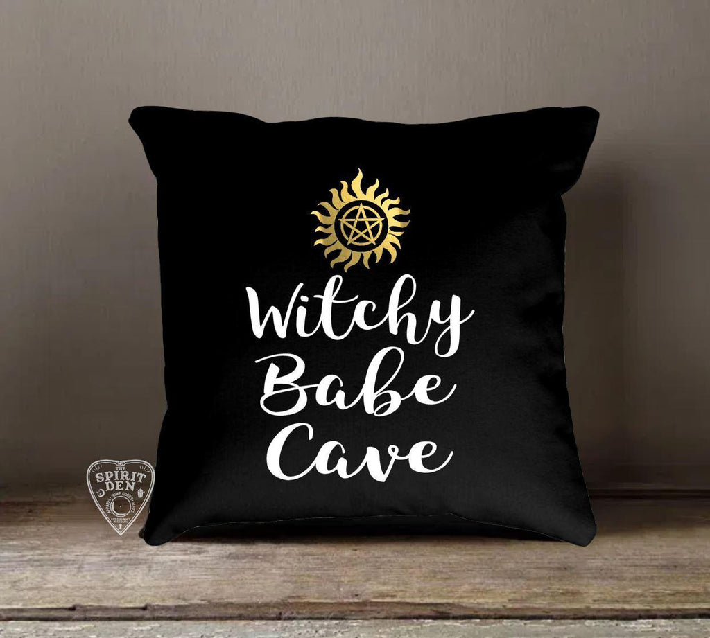 Witchy Babe Cave Black Cotton Pillow