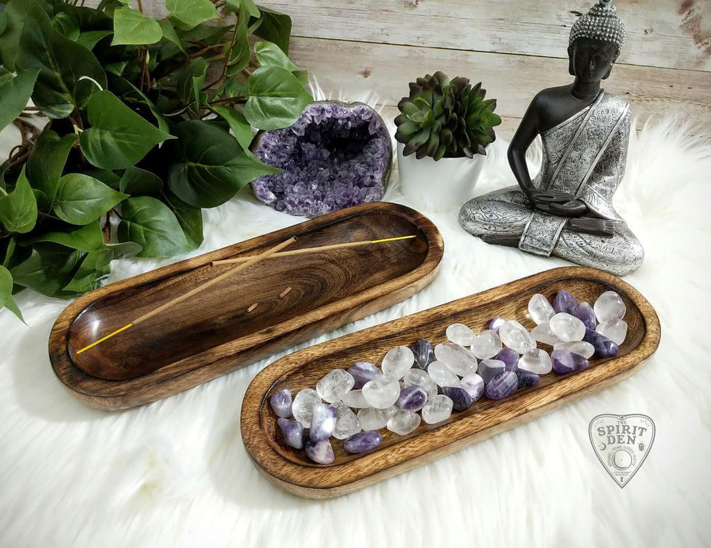 Wooden Multi-use Spiritual Vessel Double Incense Burner